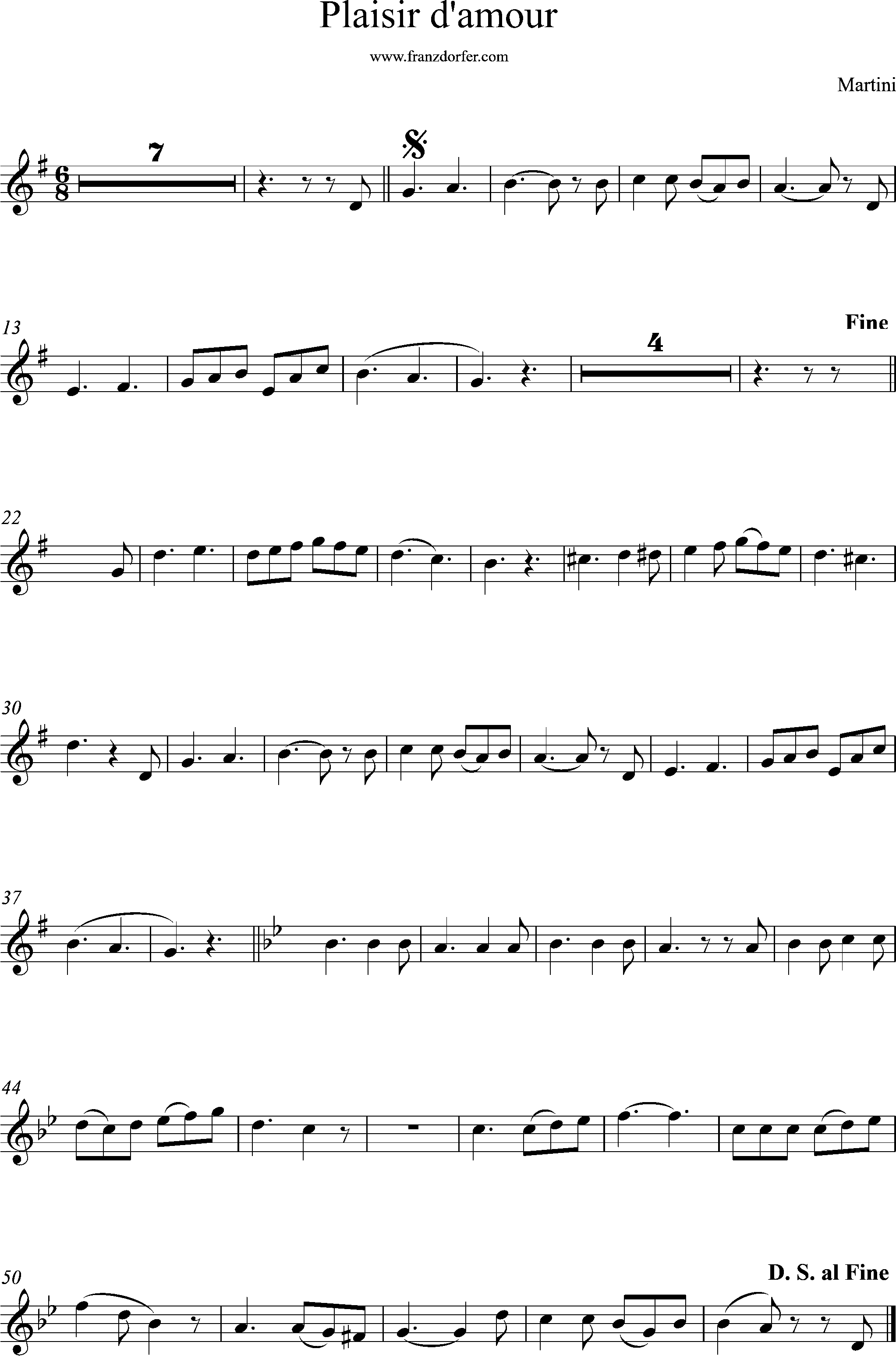 Flute, Querflöte sheetmusic, Plaisir damour, G-Major